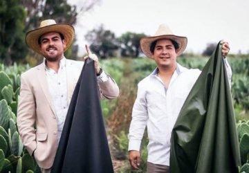Két mexikói férfi vegán bőrt alkotott kaktuszlevélből